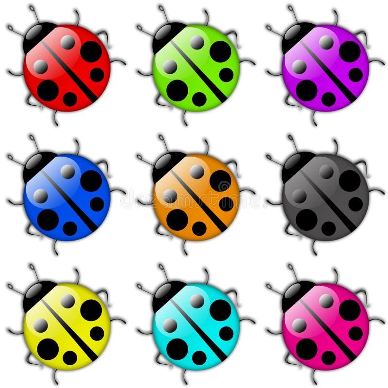 Insieme dell'icona del Ladybug illustrazione di stock