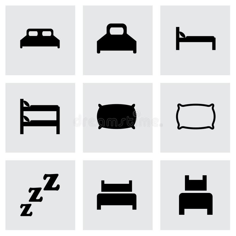 Insieme dell'icona del letto di vettore illustrazione di stock