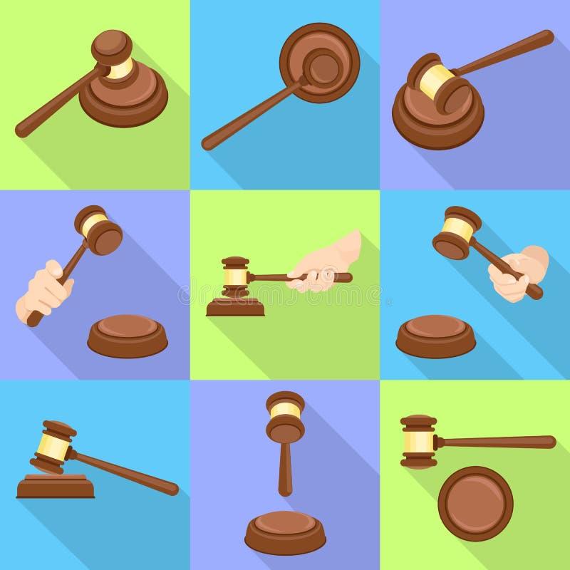 Insieme dell'icona del martello del giudice, stile piano royalty illustrazione gratis