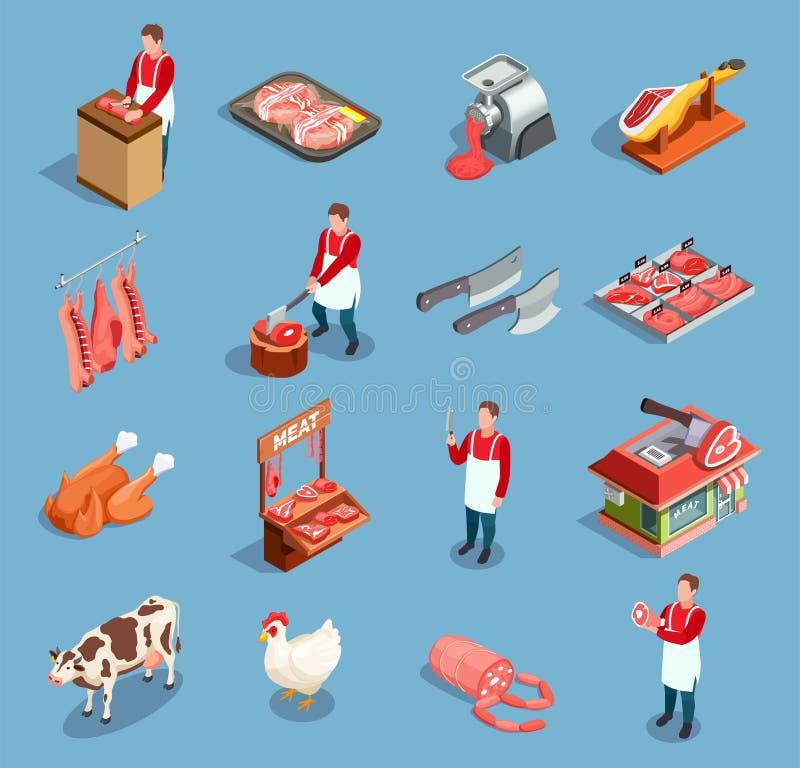 Insieme dell'icona del mercato della carne illustrazione di stock