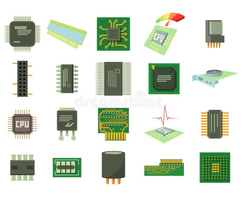 Insieme dell'icona del micro chip, stile del fumetto illustrazione di stock