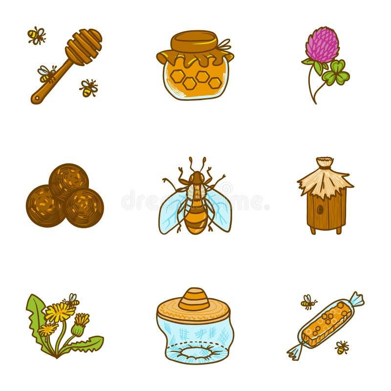 Insieme dell'icona del miele dell'ape, stile disegnato a mano illustrazione di stock