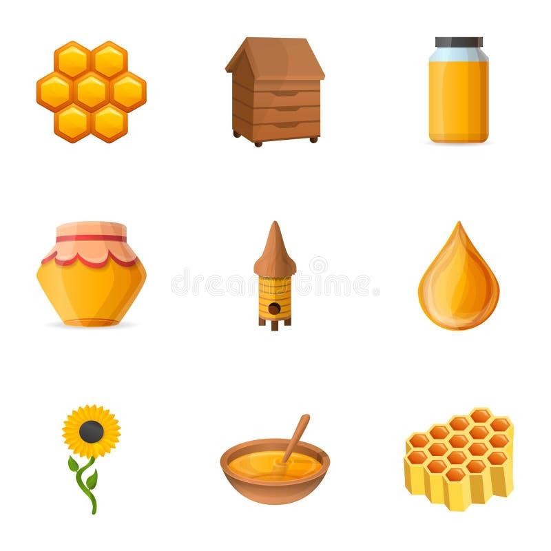 Insieme dell'icona del miele dell'arnia, stile del fumetto royalty illustrazione gratis
