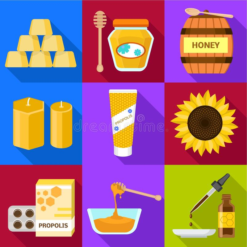 Insieme dell'icona del miele dell'arnia, stile piano illustrazione vettoriale