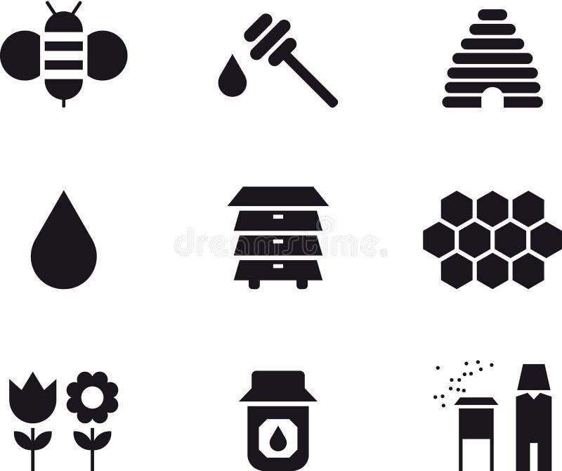Insieme dell'icona del miele e dell'ape illustrazione vettoriale
