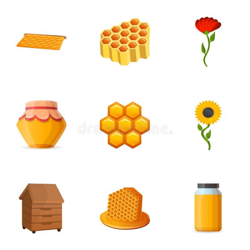 Insieme dell'icona del miele del polline, stile del fumetto illustrazione vettoriale