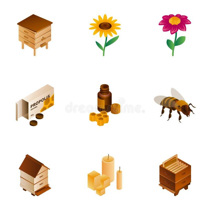 Insieme dell'icona del miele, stile isometrico royalty illustrazione gratis