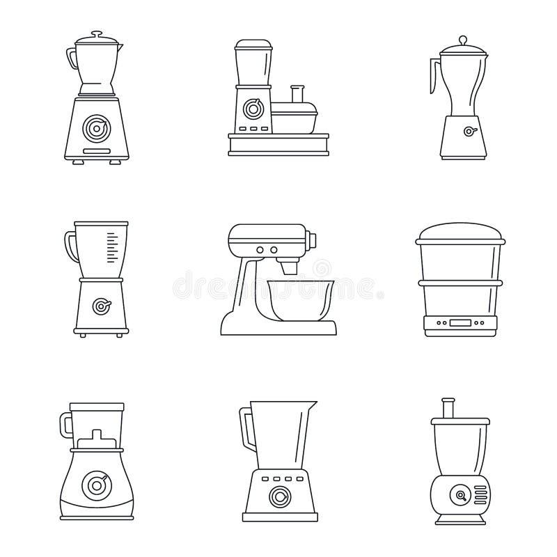 Insieme dell'icona del miscelatore dell'unità di elaborazione di alimento, stile del profilo illustrazione vettoriale