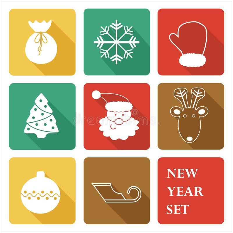 Insieme dell'icona del nuovo anno di saluto fotografia stock