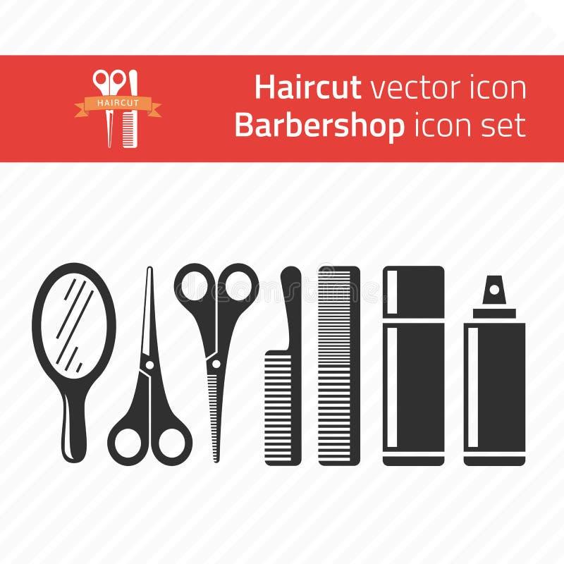 Insieme dell'icona del parrucchiere illustrazione vettoriale