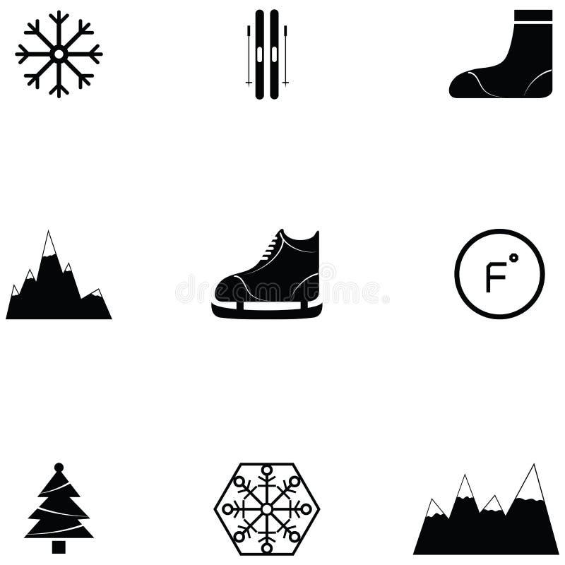 Insieme dell'icona del pattino da ghiaccio illustrazione di stock