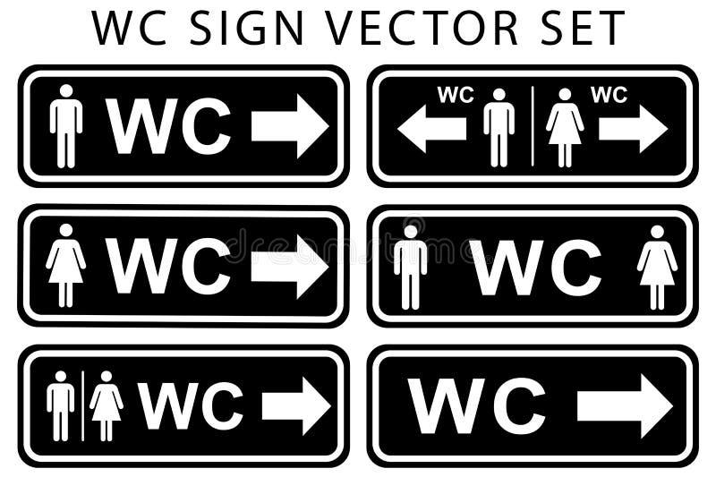 Insieme dell'icona del piatto della porta della toilette del Wc Segno delle donne e degli uomini per la toilette colore bianco ne royalty illustrazione gratis