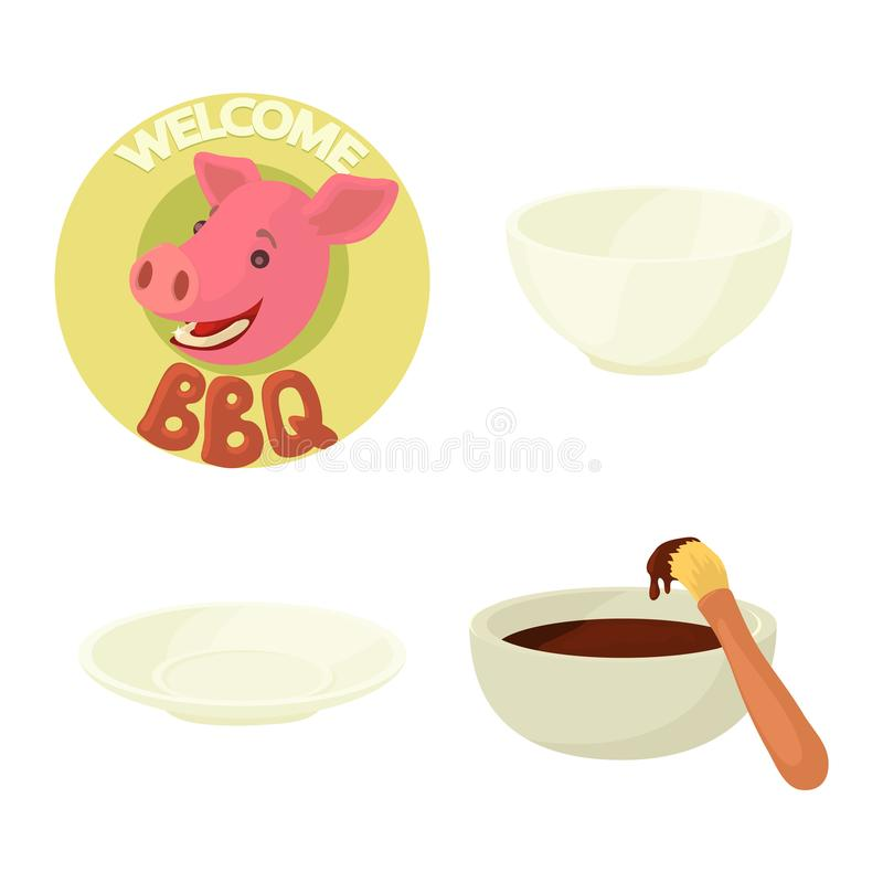 Insieme dell'icona del piatto, stile del fumetto illustrazione di stock