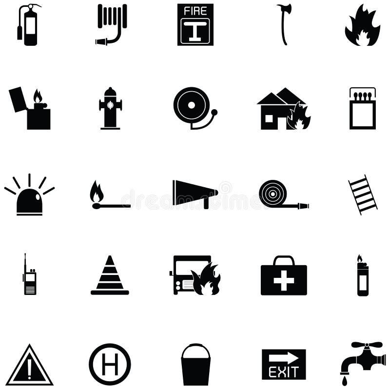 Insieme dell'icona del pompiere illustrazione vettoriale