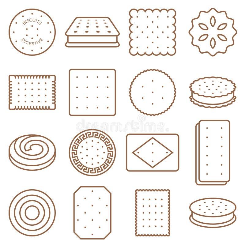 Insieme dell'icona del profilo del biscotto, del cracker e del biscotto illustrazione di stock