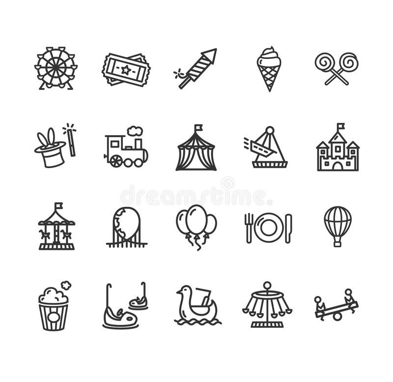 Insieme dell'icona del profilo del parco di divertimenti Vettore royalty illustrazione gratis
