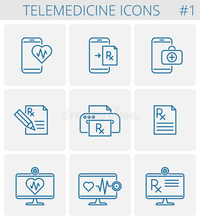 Insieme dell'icona del profilo di vettore di telemedicina e della medicina royalty illustrazione gratis