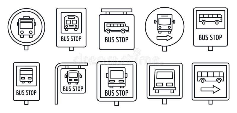 Insieme dell'icona del segno della fermata dell'autobus della città, stile del profilo royalty illustrazione gratis