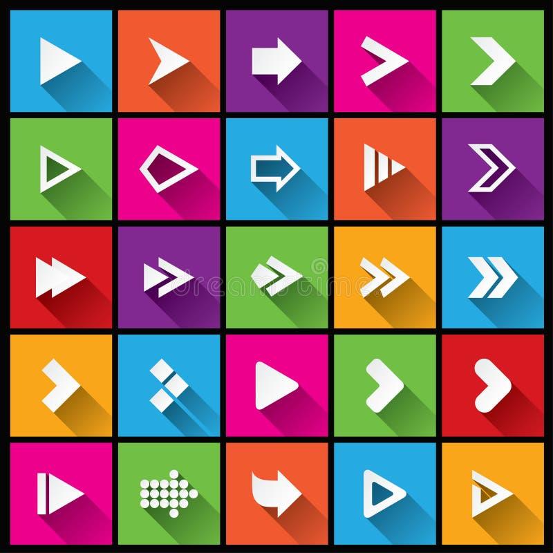 Insieme dell'icona del segno della freccia. Bottoni quadrati semplici di forma illustrazione vettoriale