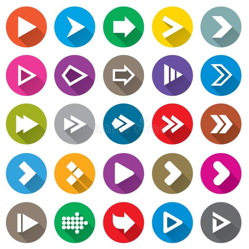 Insieme dell'icona del segno della freccia. Bottoni semplici di forma del cerchio. illustrazione di stock