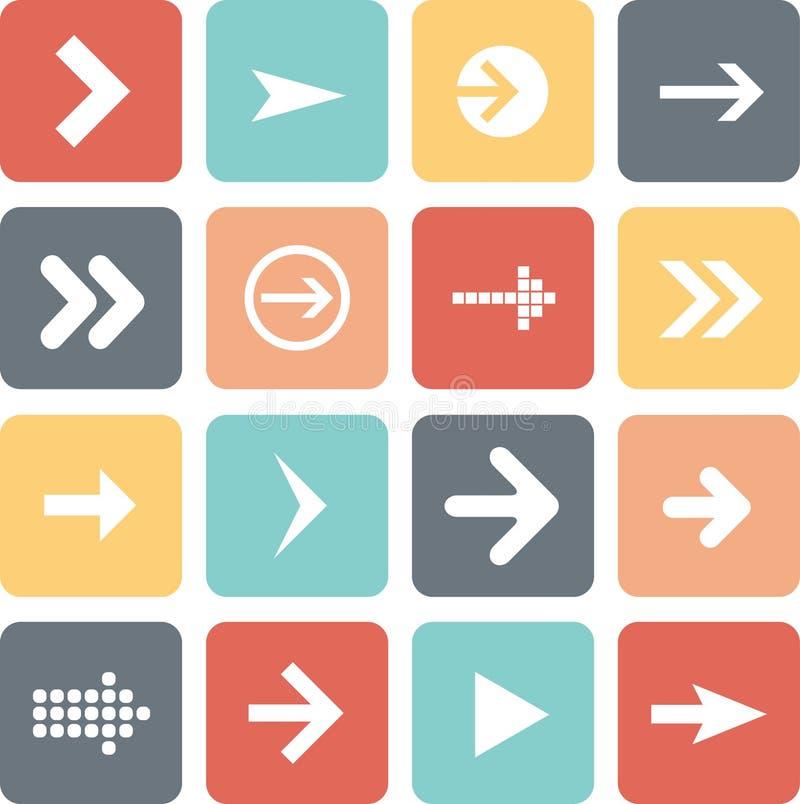 Insieme dell'icona del segno della freccia, progettazione piana, illustrazione di vettore degli elementi di web design illustrazione di stock
