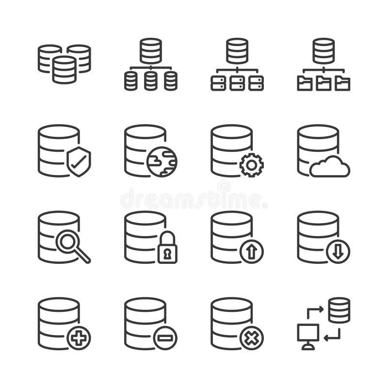 Insieme dell'icona del sistema di base di dati Illustrazione di vettore illustrazione di stock