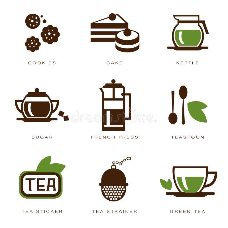 Insieme dell'icona del tè royalty illustrazione gratis