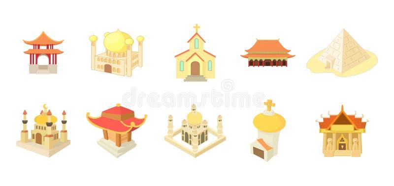 Insieme dell'icona del tempio, stile del fumetto royalty illustrazione gratis