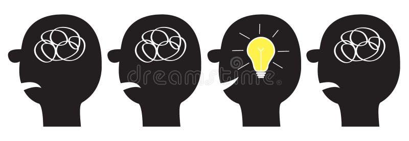 Insieme dell'icona del viso umano Siluetta nera Linea della sfilacciatura dello scarabocchio della lampadina di idea in testa den illustrazione vettoriale