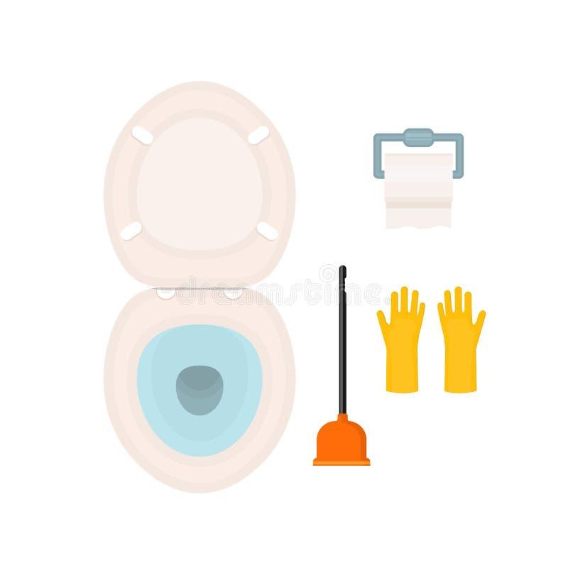 Insieme dell'icona del WC Ciotola di toilette, carta, spazzola o tuffatore e stile piano dei guanti del lattice illustrazione vettoriale