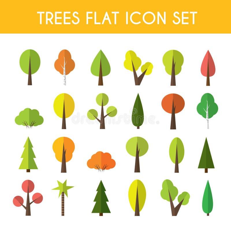 Insieme dell'icona dell'albero illustrazione vettoriale