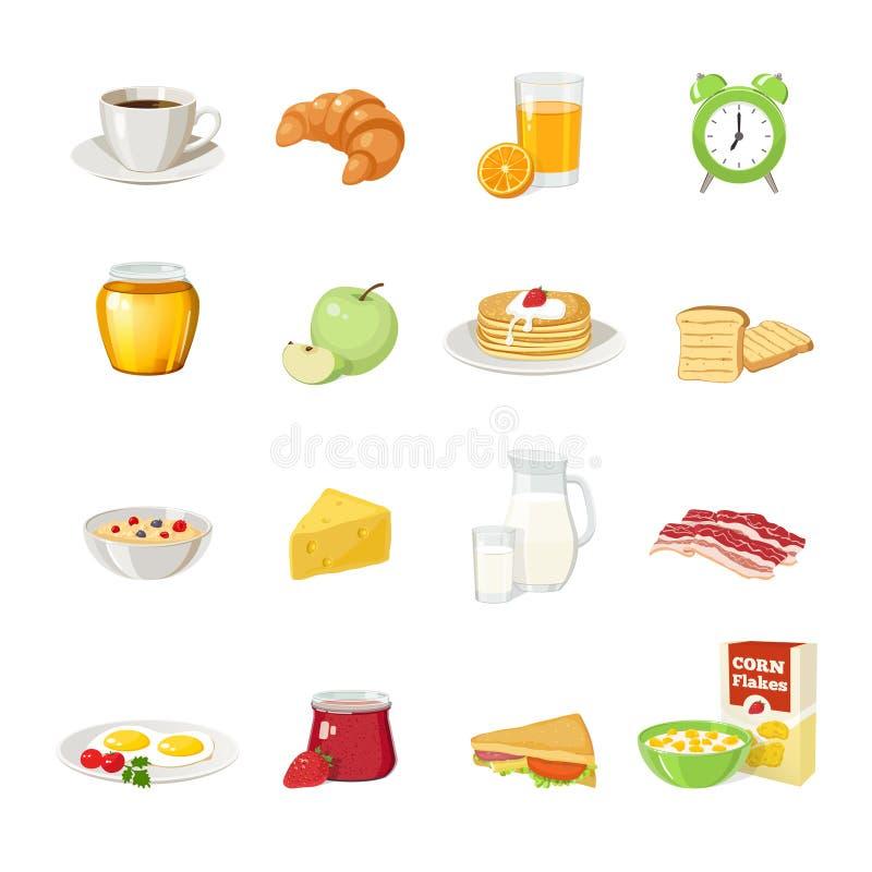 Insieme dell'icona dell'alimento di prima colazione royalty illustrazione gratis
