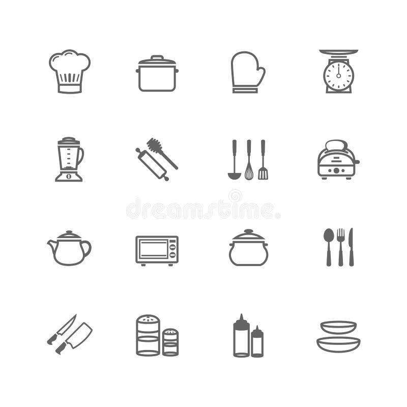 Insieme dell'icona dell'articolo da cucina del colpo del profilo illustrazione vettoriale