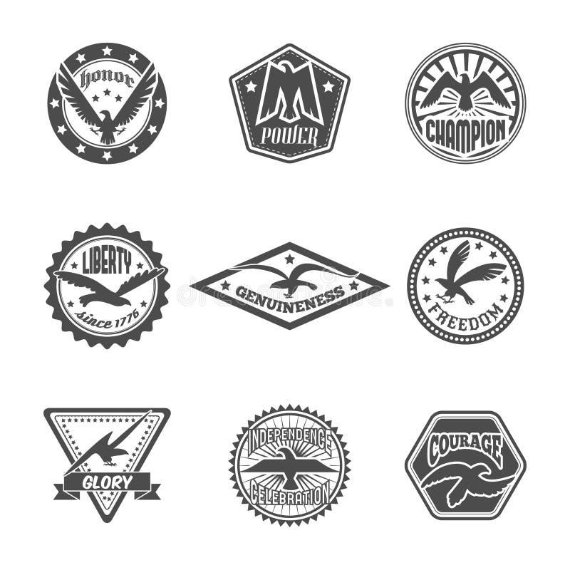 Insieme dell'icona dell'etichetta di Eagle illustrazione vettoriale