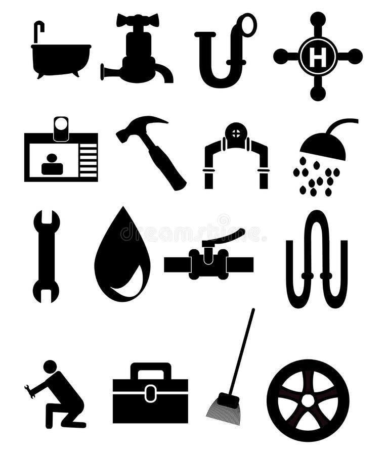 Insieme dell'icona dell'impianto idraulico illustrazione vettoriale