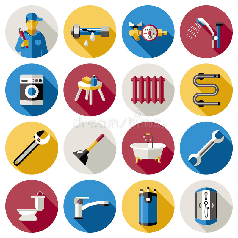 Insieme dell'icona dell'impianto idraulico illustrazione di stock