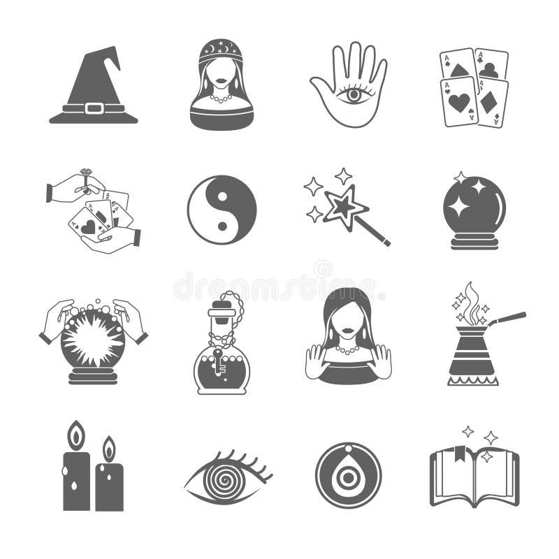 Insieme dell'icona dell'indovino illustrazione vettoriale