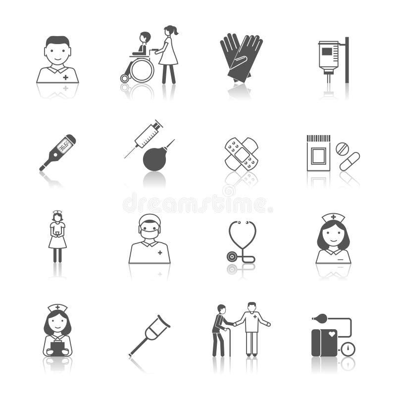 Insieme dell'icona dell'infermiere illustrazione vettoriale