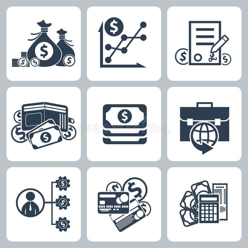 Insieme dell'icona della banca e dei soldi illustrazione di stock