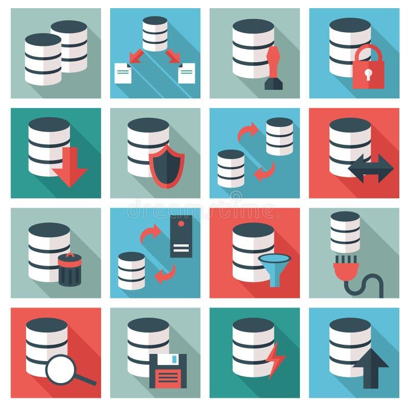 Insieme dell'icona della base di dati illustrazione di stock