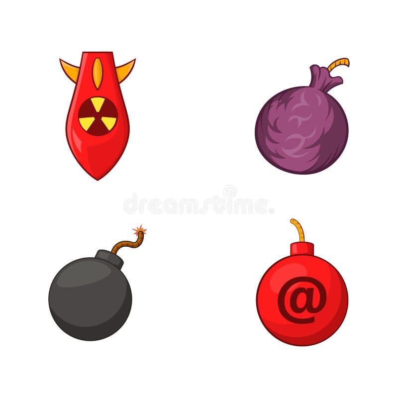 Insieme dell'icona della bomba, stile del fumetto illustrazione di stock