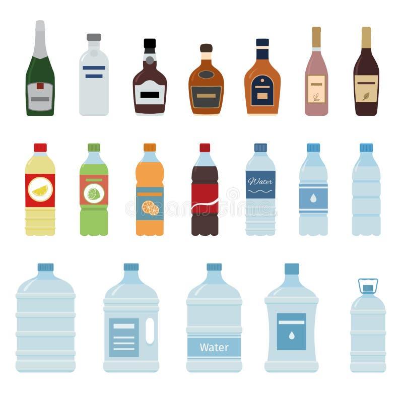 Insieme dell'icona della bottiglia dell'alcool e dell'acqua su fondo bianco illustrazione di stock
