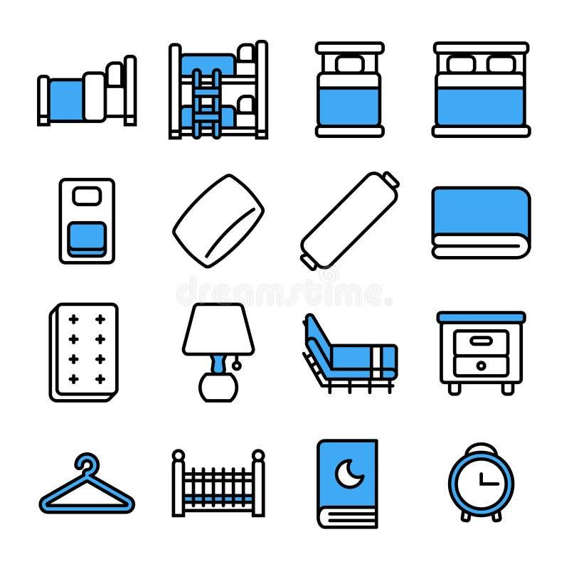 Insieme dell'icona della camera da letto Linea stile sottile di vettore illustrazione di stock
