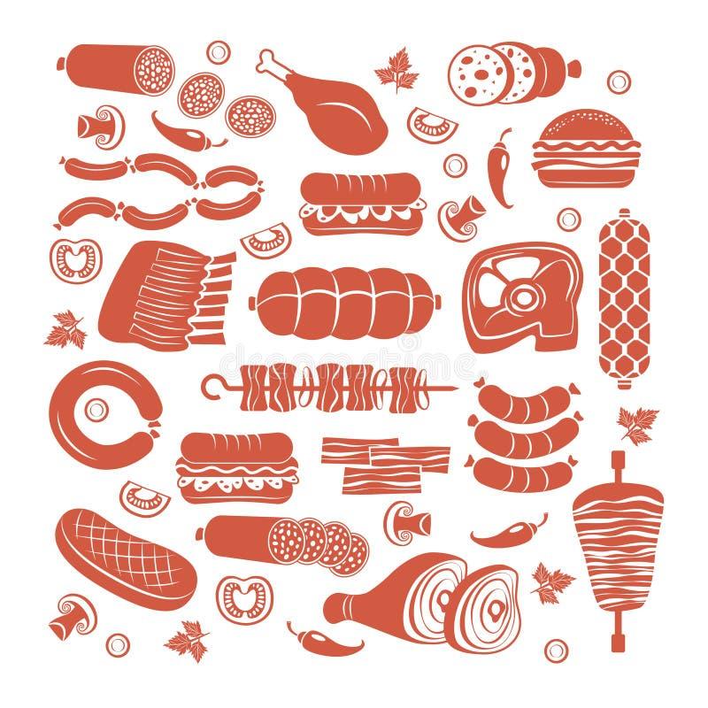 Insieme dell'icona della carne royalty illustrazione gratis