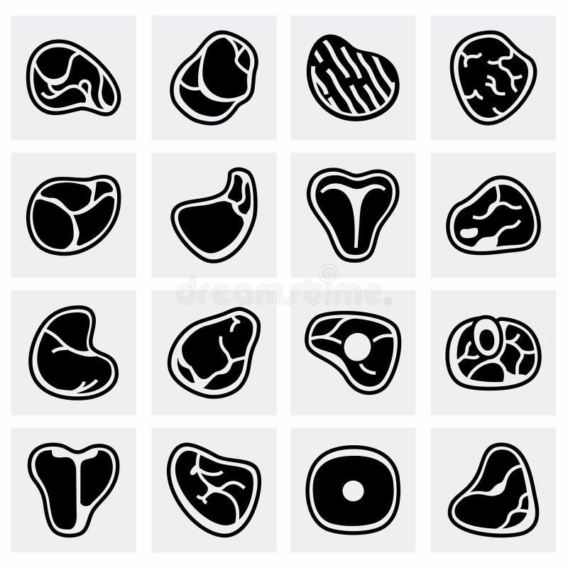 Insieme dell'icona della carne di vettore royalty illustrazione gratis