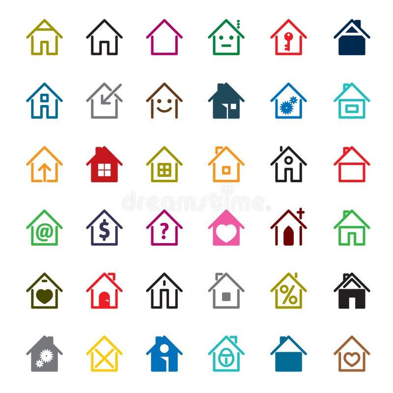 Insieme dell'icona della casa di colore Illustrazione di vettore royalty illustrazione gratis