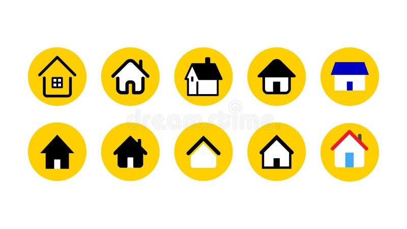 Insieme dell'icona della casa e della casa Immagine dell'illustrazione di vettore royalty illustrazione gratis