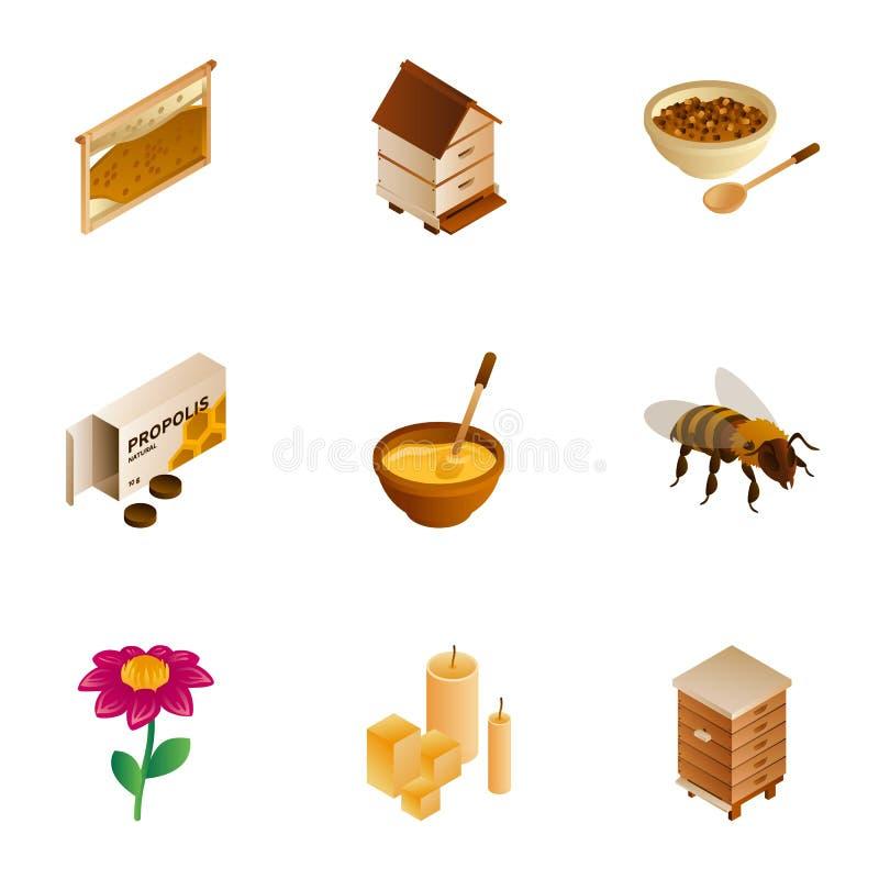 Insieme dell'icona della cera del miele, stile isometrico illustrazione vettoriale