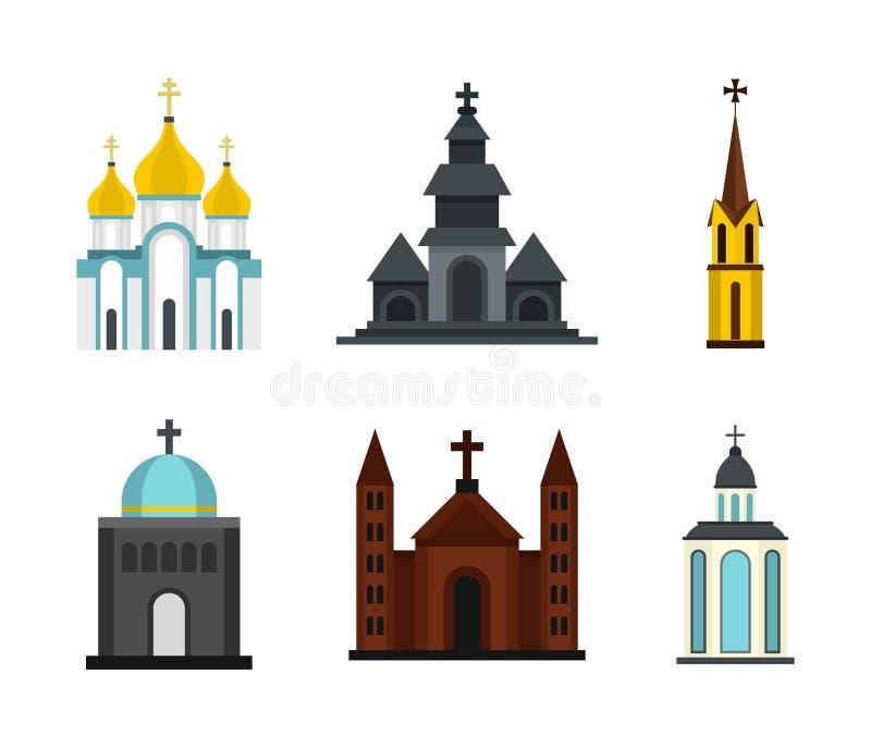 Insieme dell'icona della chiesa, stile piano royalty illustrazione gratis