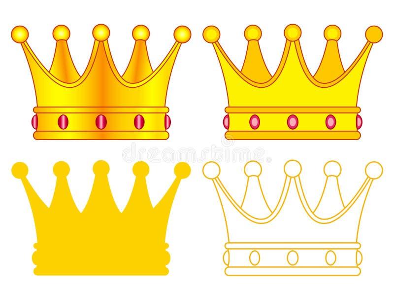 Insieme dell'icona della corona illustrazione di stock